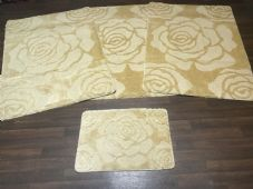 ROMANY GYPSY WASHABLES ROSE DESIGN SET OF 4  MATS XLARGE SIZE 100X140CM LT BEIGE